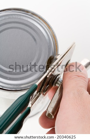 Metal Can and opener with white background