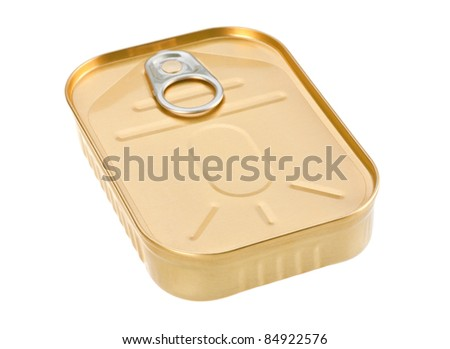 Metal can for preserved food on white background