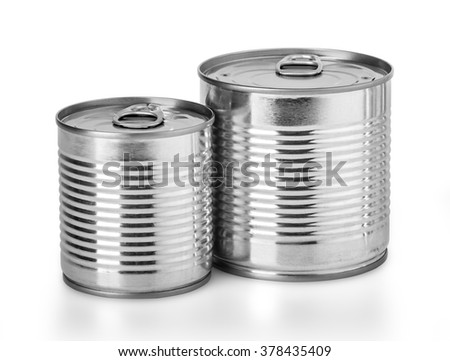 Metal can for preserved food on white background with clipping path - stock photo