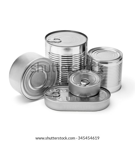 metal cans on a white background.with clipping path - stock photo