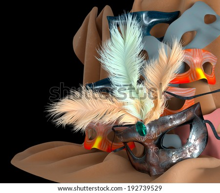 metal carnival mask with feathers and masks on background - stock photo