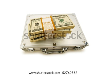 Metal case and lots of dollars on white - stock photo