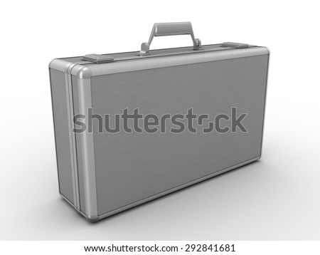 Metal case. 3d render on white background