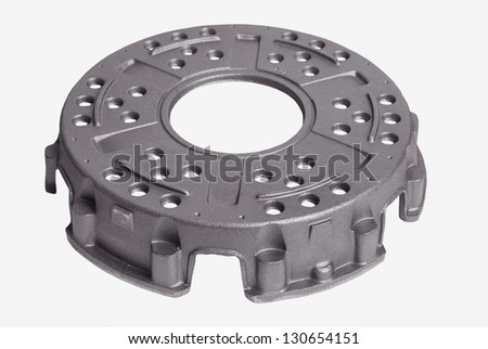Metal castings on white isolated background - stock photo