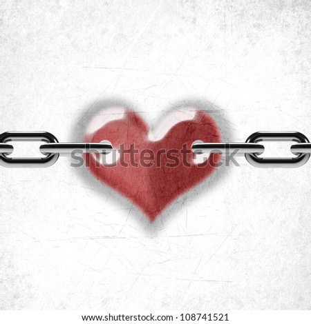 Metal chain and love heart - stock photo