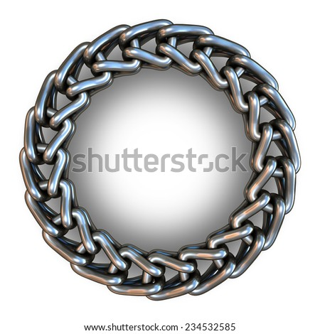 Metal chain in a ring on a black background. 3d render - stock photo