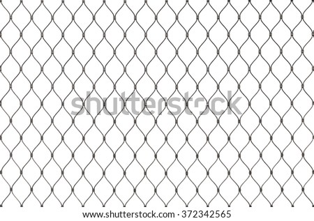 Metal chain link fence background texture isolated on white - stock photo
