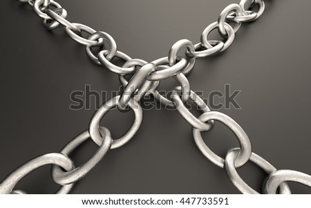 Metal chain links, 3D illustration.