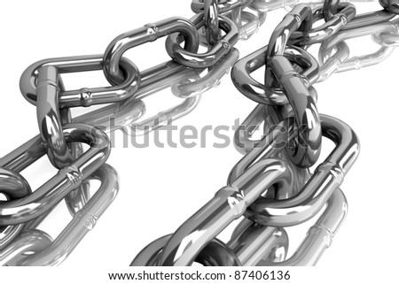 metal chain on white background