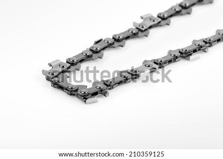 metal chain saw pattern background on white  background
