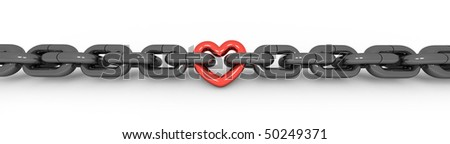 metal chain with a red metal heart - stock photo