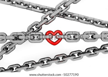 metal chain with a red metal heart on white background - stock photo