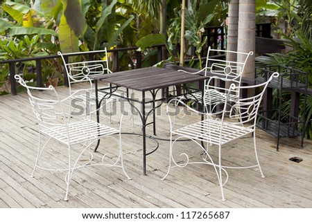 Metal chair design in the garden