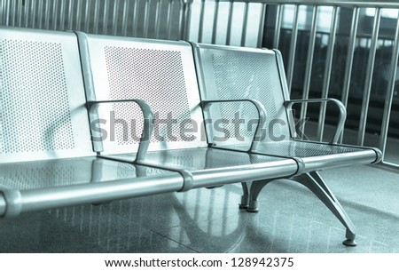 metal chair in the train station - stock photo