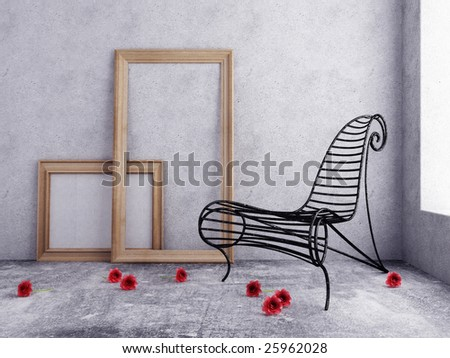 Metal chair on a white background - stock photo