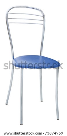 Metal chair with a soft blue seat isolated on white