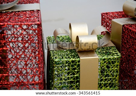 Metal Christmas Gift box decoration during the holidays - stock photo