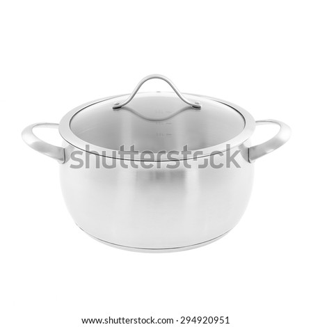 metal chrom saucepan with glass top isolated