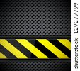 Metal circular grid with warning stripe. Raster version of the loaded vector - stock photo