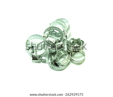 metal clamp on white background - stock photo