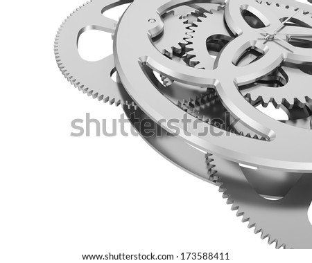 metal clock mechanism with the gears. Isolated on white background - stock photo