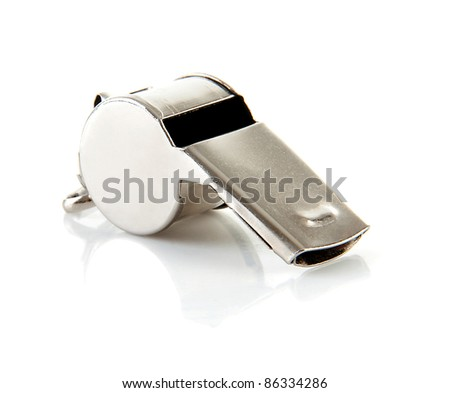Metal coaches or referees whistle over white background - stock photo