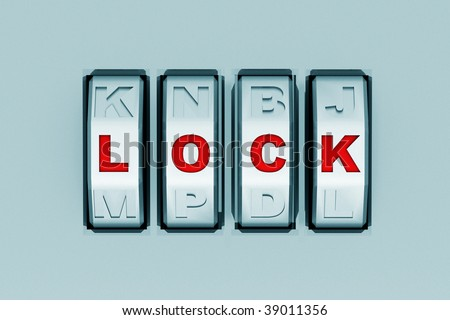 "metal code padlock with password ""lock"" - stock photo"