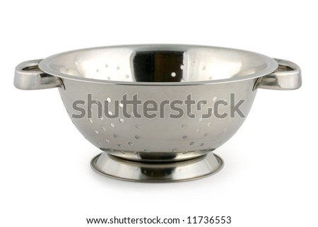 Metal colander, isolated on white background