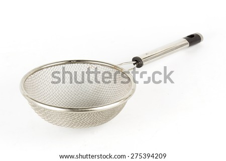 Metal Colander isolated on white background - stock photo