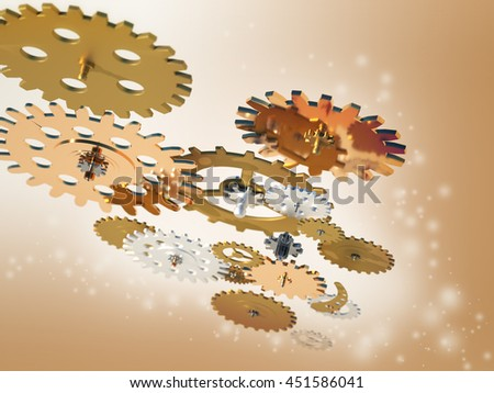 Metal collage of gears isolated, 3D Render - stock photo