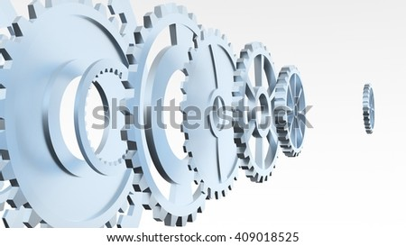 Metal collage of gears isolated on gray background