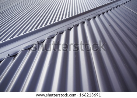 Metal colourbond roof in blue-gray colour.                                 - stock photo