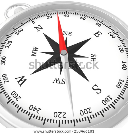 metal compass rose isolated on white background