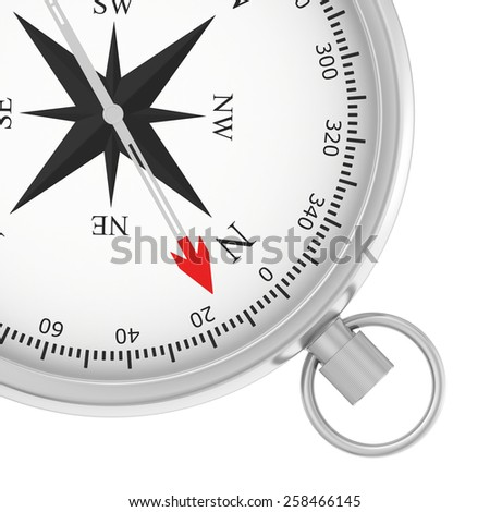 metal compass with arrow isolated on white background. - stock photo