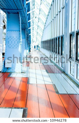 Metal constructions on the blue bridge - stock photo