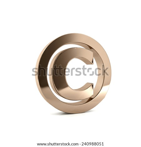 Metal copy right icon - stock photo