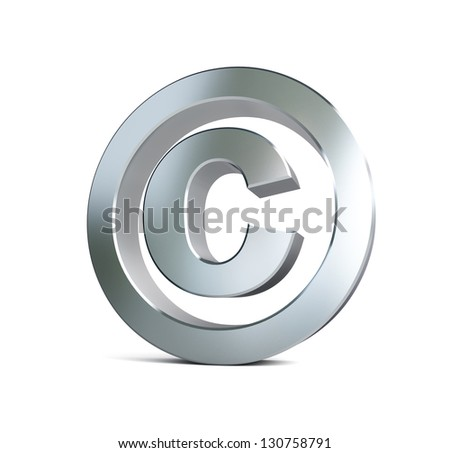 metal copyright sign 3d Illustrations on a white background - stock photo