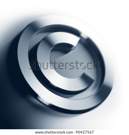 metal copyright symbol onto a white background square image with blur, border of a page - stock photo