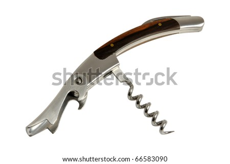 Metal corkscrew closeup, isolated on a white background - stock photo