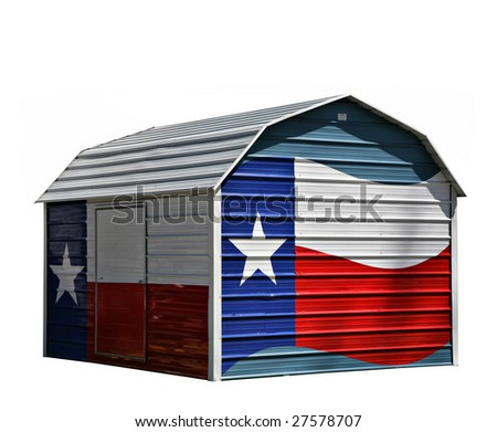 Metal Corrugated Storage Shed With Texas Lone Star Blue White and Red Flag Painted On(ReleaseInformation:Editorial Use Only. Use of this image in advertising or for promotional purposes is prohibited. - stock photo