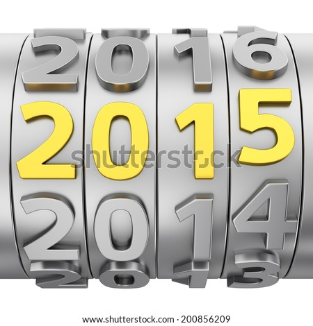 Metal counter roll of years and golden 2015 number isolated - stock photo