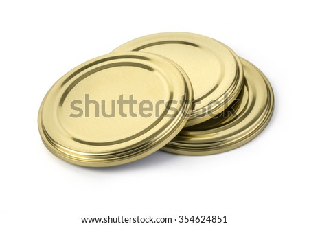 metal cover for closing of glass jars. The image on a white background. with clipping path - stock photo