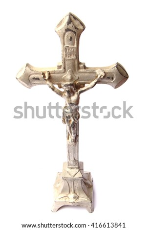 metal crucifix isolated on the white background