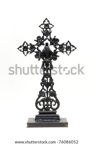 metal crucifix on a stand isolated on white background - stock photo