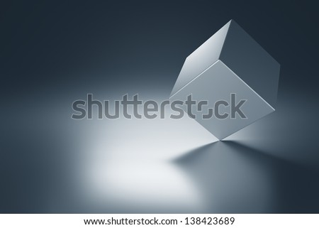 Metal cube on metal table with copy space. 3d render - stock photo
