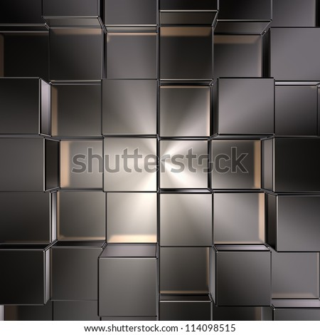 metal cubes background - 3d illustration - stock photo