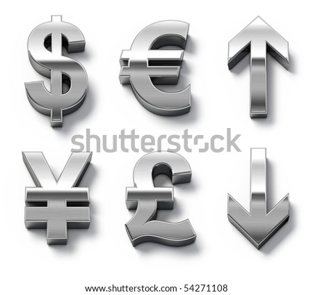 Metal currency symbols and arrows - stock photo