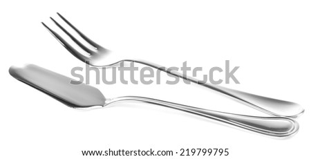 Metal cutlery isolated on white - stock photo