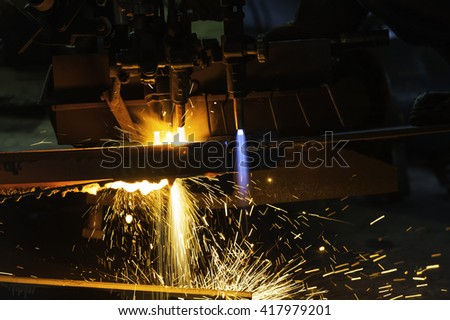 Metal cutting with acetylene torch close-up   - stock photo