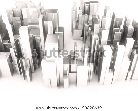 Metal 3d cubes abstract city top view - stock photo